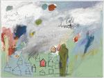 STONE IS ALIVE / HOME IS ALIVEe, 2012, Acryl, Buntstift, Pastell auf Leinwand, 30 x 40 cm