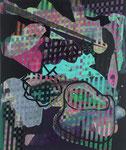 Matrioschkafieber, 2009, Acryl auf schwarzem Gesso auf Leinwand, 50 x 42 cm