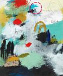 TORE FINDEN, 2016, Acryl, Bleistift, Buntstift, Kohle, Pastell, Balsaholz, Papier und Pappe auf Leinwand, 175 x 145 x 5 cm