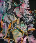 Vom Knochen auslösen, 2009, Acryl auf schwarzem Gesso auf Leinwand, 50 x 42 cm