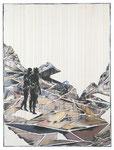Christofer Kochs, IM ANGESICHT DES AUGENBLICKS, 2013, Tusche und Öl auf gefalteter Leinwand, 160 x 120 cm