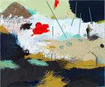LEAVING HOME – STARTING THE JOURNEY, 2015, Acryl, Pastell, Kohle, Bleistift, Buntstift,  Balserholz, Pappe und Papier auf Leinwand, 145 x 175 cm