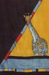 girafe (détail) - gandura soie 90X150cm