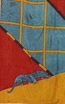 panthères curieuse (détail) -gandura soie 90X150cm