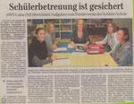 12.08.2011 Schülerbetreuung ist gesichert (WNZ)