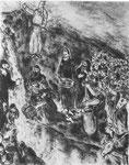 """Radierung """"Mose schlägt Wasser aus dem Felsen"""", La Bible, Paris, 1966"""