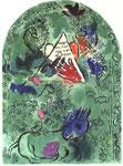 """""""Issachar"""", Farblithographie von Charles Sorlier nach Chagalls Entwürfen zu den Glasfenstern von Jerusalem, 1962"""