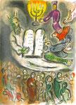 """Farblithographie """"Mose verkündet die Worte des Herrn"""", M 457, The Story of the Exodus, Paris, 1966"""