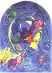 """""""Benjamin"""", Farblithographie von Charles Sorlier nach Chagalls Entwürfen zu den Glasfenstern von Jerusalem, 1962"""