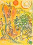 """Farblithographie """"Mose schlägt Wasser aus dem Felsen"""", M 455, The Story of the Exodus, Paris, 1966"""