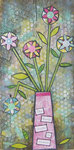 Whimsical Floral (mixed media on weathered wood)