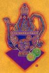 ②色絵蓋瓶とライム