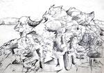 """Bleistift auf Papier (60x42cm)  """"Feldberg II"""" 1993"""