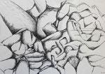 """Bleistift auf Papier (60x42cm)  """"Landschaft mit Formen"""" 1993"""