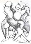 """Bleistift auf Papier (42x60cm)  """"Tanzende Figuren"""" 1993"""