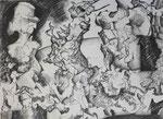 """Bleistift auf Papier (60x42cm)  """"Die Versuchung des Heiligen"""" 1993"""