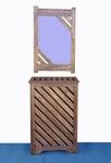 """REF. 721  """"PIEZA ÚNICA"""" Conjunto cubre radiador 536 y espejo en contrachapado color wengé Medidas  cubre radiador 89 x 61 x 20 cm. Espejo 86 x 56 cm DISPONIBLE  330 €. gastos de envío 100 €. no incluidos"""
