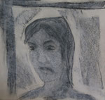 Nr.2019-36; Frauengesicht, Pastell und Kohle, 30x30, Zeichenkarton