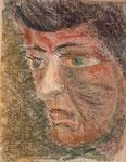 Nr. 2019-39; Kopf eines Mannes in grün, Pastell, 24x30, Tonzeichenpapier
