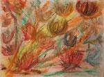 Nr. 2019-44; Blumen, Pastell, 30x40, Zeichenkarton mit Leinenprägung