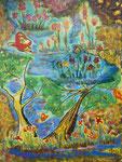 Nr.: 2018-14; Landschaft mit Baum, Tusche -Pastell-Aquarell, A3, Zeichenkarton