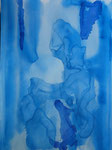 Nr. 2018-28; Blau in Blau, Aquarell, A3, Zeichenkarton