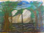 Nr. 2018-48; Landschaft, Ölpastell, A4 , Zeichenkarton