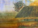 Nr. 2018-61; Haus mit Baum, Aquarell, A4, Zeichenkarton