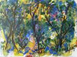 Nr.: 2018-22; Baumlandschaft, Acryl und Tusche, A 3, Zeichenkarton