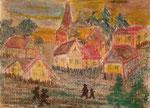 Nr. 2019-40; Dörfliches Ambiente, Pastell, 24x30, Tonzeichenpapier