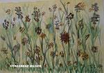Nr.; 2018-8; Blumen im Feld, Tusche, A3, Papier