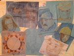 Nr. 2019-46; Collage zum THW, Bleistift, Farbstift, 36x48, Fotokarton blau,