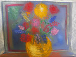 Nr. 2018-50; Blumen am Fenster, Pastellkreide, A4, Zeichenkarton