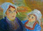 Nr. 2019-30; Bretonische Frauen, Acryl und Ölpastell, 36x48, Zeichenkarton