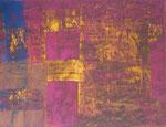 Nr. 2019-28; Farbenspiel ocker-rot-blau, Acryl, gespachtelt, 36x48, Zeichenkarton