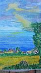 Nr. 2019-47; Telgruc - Blick aus dem Garten, Ölpastell, 38x48, Zeichenkarton; vergeben