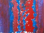 Nr. 2019-25; Strukturen rot-blau, Acryl, gespachtelt, 36x48, Zeichenkarton