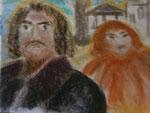 Nr. 2019-45; Paar, Pastell, 36x48, Zeichenkarton