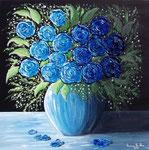 Nel blu intenso delle tue rose - Olio su tela ( materico ) - 50 x 50 cm - 2010