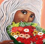 La gioia della vita nel tuo sorriso - Olio su tela - 50 x 50 cm - 2012