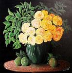 Composizione di rose gialle e mele cotogne - Olio su tela - 50 x 50 cm - 2009 ( disponibile )