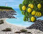 Spiaggia con faro e fronde di un limone - Olio su tela - 40 x 50 cm - 2015 (opera disponibile)