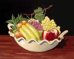 Vassoio in ceramica con frutta - Olio su tela - 40 x 50 cm - 2011