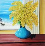 Vaso con mimose affacciate sul mare - Olio su tela - 40 x 40 cm - 2014 (opera disponibile)