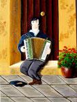 Fisarmonicista zigano - Olio su tela - 50 x 70 cm - 2005
