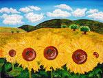Distesa di girasoli - Olio su tela con spatole - 40 x 50 cm - 2004 - ( collezione privata )