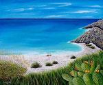 La spiaggia e l'azzurro mare - Olio su tela - 100 X 120 cm - 2008
