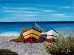 Barche in spiaggia - Olio su tela - 30 x 40 cm - 2007 - ( collezione privata )