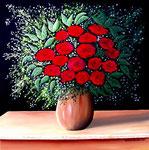 Composizione floreale con rose rosse - Olio su tela - 50 x 50 cm - 2009 ( disponibile )