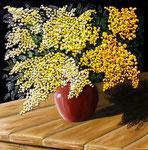 Vaso con mimose materiche - Olio su tela - 50 x 50 cm - 2009